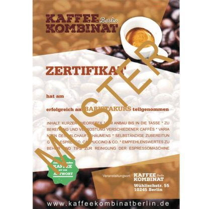 Baristakurs Basic KaffeeKombinatBerlin Zertifikat