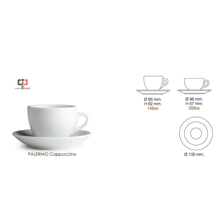 Cappuccinotasse Nuova Point Palermo 200ml weiss
